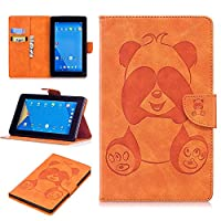DENDICO Kindle Fire 7 Leather Flip Notebook Style Case Cover [Stand Function] [Magnetic Closure] [Card Slots] Slim WeightLight Protective Case for Amazon Kindle Fire 7 - Orange