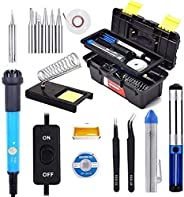 TECHTEST Soldering Iron Kit Electronics, Adjustable Temperature, 5 Pcs Tips, Rosin, Solder Wick, Stand and Kits in Portable