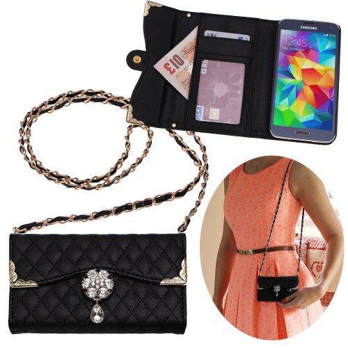 Xtra-Funky Esclusivo Lusso Faux Custodia in pelle trapuntata borsa della borsa di stile con la cinghia da trasporto e splendidamente decorate fiore di cristallo per Samsung Galaxy S5 (i9600) - Nero (include un mini stilo e schermo LCD PELLICOLA)