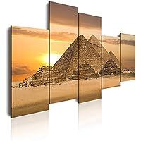 Dekoarte 125 - Cuadro moderno en lienzo de 5 piezas, paisaje pirámides Egipto, 150x100cm