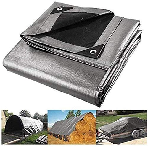 Spinning Bike Wasserdichte Plane 10 * 12 Feet Silber mit Schwarz Wasserdichte Plane mit Metallösen verstärkten Kanten Multi-Purpose Poly Tarp-Abdeckung for Boote Autos Pool Cover Camping Patio Camping -