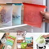 Sacchetti di immagazzinaggio del silicone di set di 3 - Guarnizione riutilizzabile e impermeabile Contenitore versatile di sacchetti di conservazione per alimenti riutilizzabili per frutta , verdura , carne e così via - VENAS