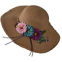 TININNA Verano Transpirable ala Ancha. Sombrero de Paja Plegable Floppy  Playa Sol Sombrero de protección dd9d948e626