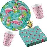 Flamingo Paradise Paradies Partyset 52tlg. für 16 Gäste Teller Becher Servietten