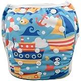 Eco Green Baby - Position Printed Swim Diaper - Blue Ship