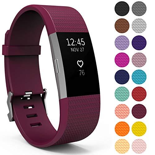 Yousave Accessories Armband für Fitbit Charge 2, Ersatz Fitness Armband und Uhrenarmband, Silikon Sportarmband und Fitnessband, Wristband Armbänder für Fitbit Charge2 - Klein, Organic Grape