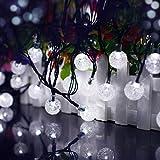 lederTEK, Solar Lichterkette 6m 30 LED Kugel Außenlichterkette Wasserdicht mit Lichtsensor Weihnachtsbeleuchtung, Beleuchtung für Haushalt, Außen, Party, Hochzeit, Weihnachten (weiß)