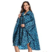 Summer Mae Rain Poncho Jacket Coat for Adults Hooded Waterproof with Zipper Outdoor Blue Cloak