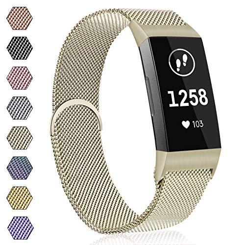 AK Armband für Fitbit Charge 3 Armband, Metall Ersatz Fitness Armbänder Voll Einstellbare mit Starkem Magneten Sperren für Fitbit Charge 3 (06 Champagner, S)