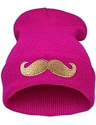 Demarkt Mode Bonnet Tricotage en Fil de Laine avec Design de Moustache