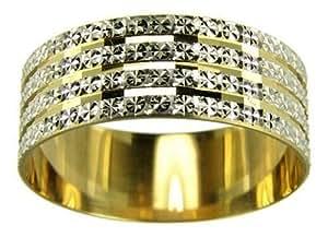 Kareco Wedding Ring, 9 Carat Two Colour Gold Light Flat Diamond Cut, 7mm Band Width