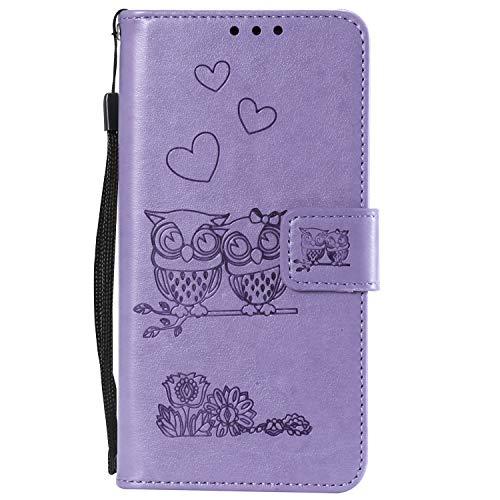Miagon pour iPhone XS/iPhone X Coque,Coeur Fleur Hibou En Relief Modèle Pu Cuir Portefeuille Supporter Flip Cas Housse Etui avec Fentes pour Cartes Fermeture Magnétique