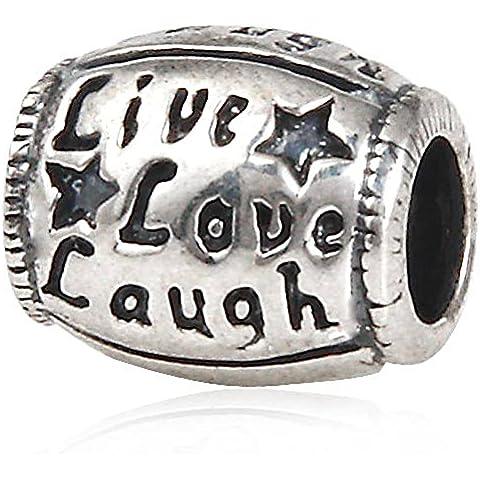 Festa della mamma regali Live Love Laugh Ciondolo Forma Ovale, Argento Sterling 925, per bracciali europeo - Live Love Laugh Bracciale