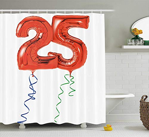 HiExotic Duschvorhang Whimsy 25th Birthday Decorations Shower Curtain Sets Vivid Display of Party Balloons in Red with Colorful Ribbons,Non-Toxic Waterproof Decor,Extra Long, Red Blue Green,60X72In (Quilts Ribbon Blue)