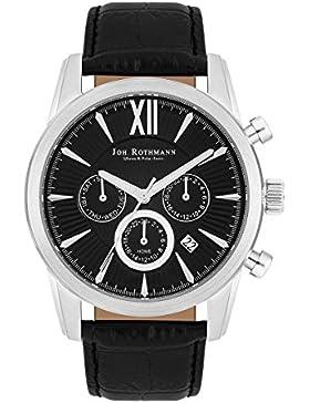 Joh. Rothmann Halvor Herren-Uhr Multifunktion 5 ATM silber Echtleder-Armband black 10030141