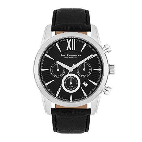 Joh. Rothmann Halvor men's watch, multifunction, 5atm, silver/blue, leather strap in brown 10030141
