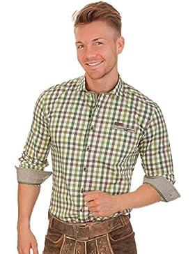 Trachtenhemd mit langem Arm - EMERALD - rot, grün