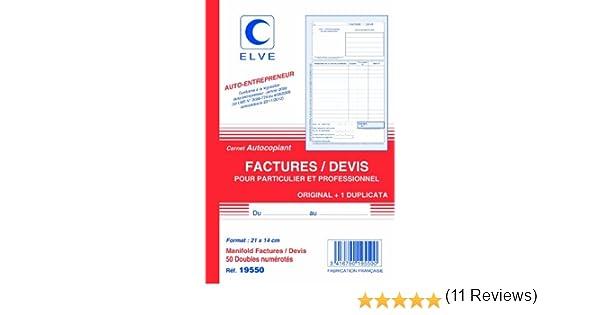 21/x 14/cm verticale Set di 5/blocchi per liberi professionisti per fatture//preventivi Elve 50/fogli doppi