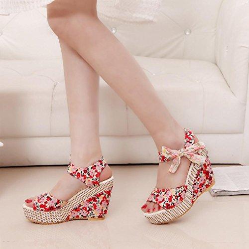 Hunpta Frauen Mode Sommer Hang mit Flip Flops Sandalen Slipper Schuhe Rot
