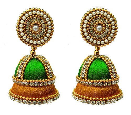 Youth Combination of Gold - Multicolour Silk Thread Jhumki Earring for Women