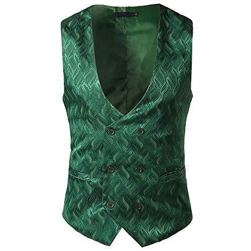 TEBAISE Elegante Herren Weste Anzugweste Casual Business stilvoll Vest Formal Slim Fit Retro Blazer(Grün,EU-44/CN-S) (Für Kleid-casual-weste Männer)