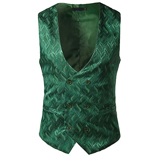 TEBAISE Elegante Herren Weste Anzugweste Casual Business stilvoll Vest Formal Slim Fit Retro Blazer(Grün,EU-56/CN-XL)