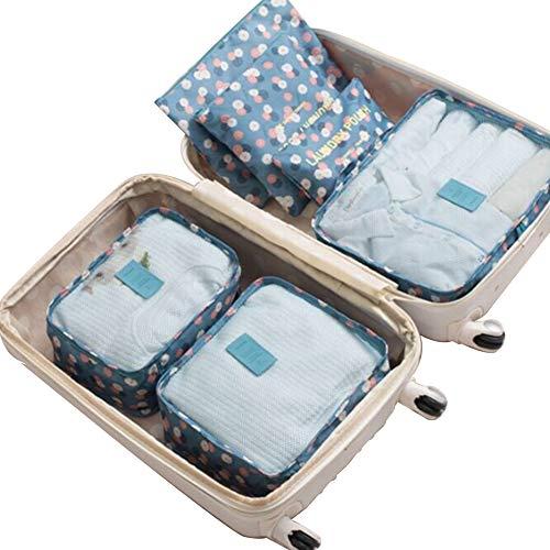 Ndier Reisegepäck-Organizer-Set, Reise-Würfel, Aufbewahrungsbox, Reisetasche, Reisetasche, Reisekompression Reise-Organizer, Gepäck-Organizer, 1 Set (6-teilig) - Blau