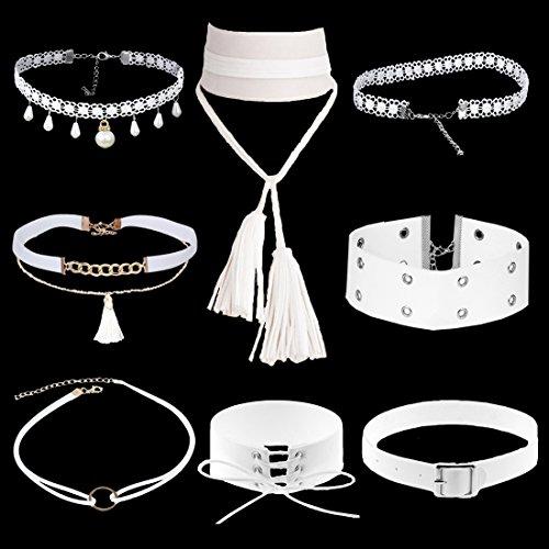 Tpocean 8 Stück Weiße Kollektion Choker Halskette Set Spitze Tätowierung Lolita Halsband mit Perle Tassel Anhänger Leder Fesseln Dick Kragen Wölbung Halskette Kette Schmuck Geschenk für Lady - Vintage Juwel Hals