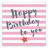 ARTEBENE Servietten 33x33 cm 'Happy Birthday to you' Pink / Grau