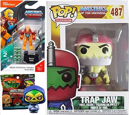 Blind Motu He-Man Beast Mega Masters of The Universe Building Block Figure + Exclusive Trap Jaw Vinyl Pop Figure & Mini Pint Size Character Bundle