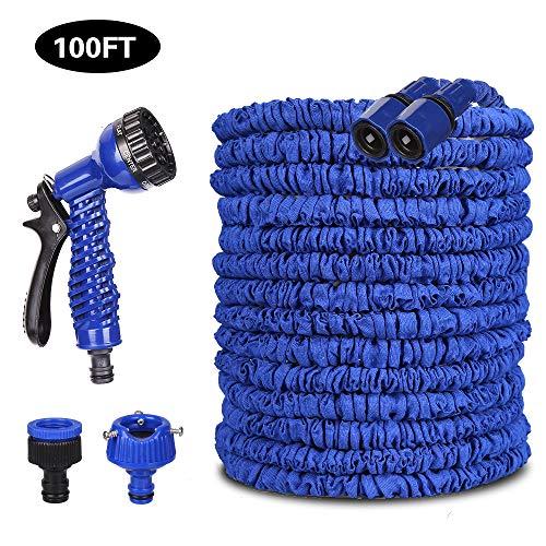 VEGKEY Tuyau D'arrosage, 30m 100 FT Flexible Tuyau, D'arrosage Rétractable Tuyau d'eau Extensible avec Douchette à 8 Fonctions Elastique pour Irrigation