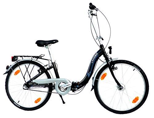 LANDER Faltrad 24' Zoll (=61cm) 3 Gang Alurahmen Nabendynamo StVZO-Ausstattung schwarz