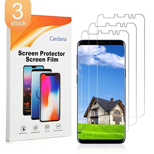 Cardana 3X Samsung Galaxy S9 Schutzfolie, Bildschirmschutzfolie[ Volle Abdeckung ][Einfache blasenfreie Installation] Panzerglasfolie, extrem langlebige Folie Transparent