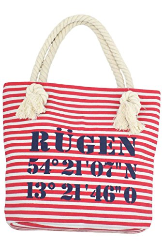 Sonia Originelli XS Shopper Rügen Shopper Tasche Koordinaten Farbe Grau-Schwarz Rot-Marine