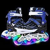 WeSkate Für Kinder / Erwachsene Acht Beleuchtungsräder Atmungsaktives Mesh Inline Skates Aluminium Rahmen Einstellbare Größen Rollschuhe für drei Größen 31-34 / 35-38 / 39-42 (Blau, 39-42)