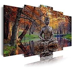 DekoArte 17 - Cuadro moderno de Buda sobre agua en paisaje de otoño, lienzo de 5 piezas, 150 x 80 cm