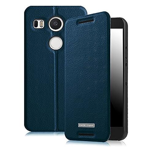 Fintie Coque Nexus 5X, PU Cuir Flip Housse Étui Cover Case avec Support Pliant pour Google Nexus 5X / LG Nexus 5X, Bleu encre