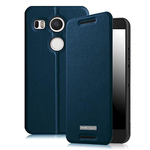 Fintie Nexus 5X Hülle - Premium Flip Cover Handytasche im Bookstyle mit Standfunktion und Card Holder Wallet Case für LG Nexus 5X , Marineblau