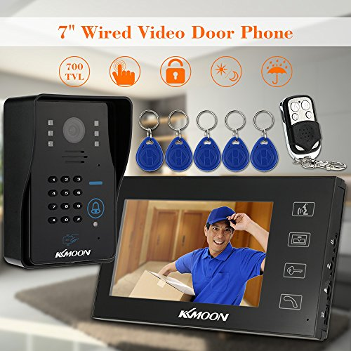 KKMOON Video Doorbell 7 Inches Video Door Entry System with Key; 7 Inch Video Doorbell Phone Visual Intercom Doorbell with Monitor and 700TVL Outdoor Camera + 5*ID Card + 1*Remote Control Support Unlock Infrared Night View Rainproof