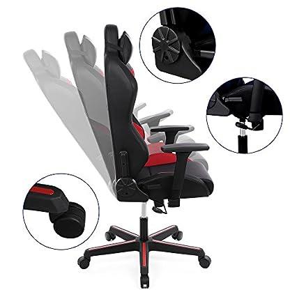 SONGMICS Silla racing ergonómica Silla de videojuegos con respaldo alto Silla de oficina ajustable con Reposacabezas Soporte lumbar Apoyabrazos RCG25RD