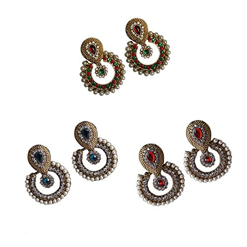 Combo Ramleela Dangle Earring with an Ethnic Look (UERLET02RD-R-G-RG)  available at amazon for Rs.525