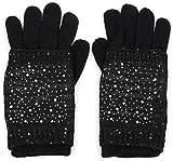 styleBREAKER caldi guanti in maglia, mezzoguanti con muffola rimovibile ricoperta di strass e paillettes, orlo doppio, guanti, donna 09010006, colore:Nero