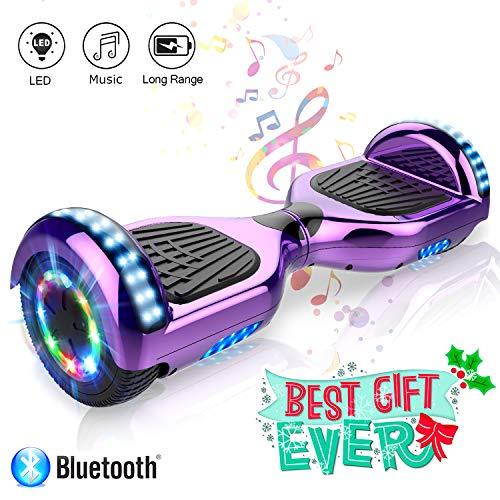 COLORWAY 6,5 Zoll Elektro Skateboard Elektro Scooter Smart Hoverboard Self Balance Board - Bluetooth - LED Räder - 350W*2 Motor