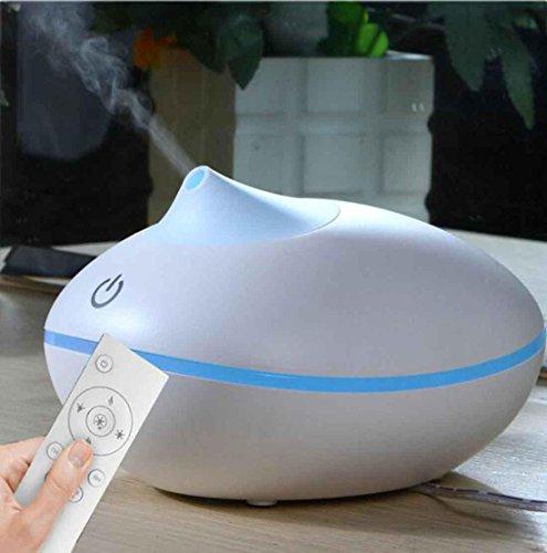 Aroma Diffusor Holz 200ML mit Fernbedienung ätherisches Öl Diffusor elektrische Ultraschall Luftbefeuchter Led Lampen, White