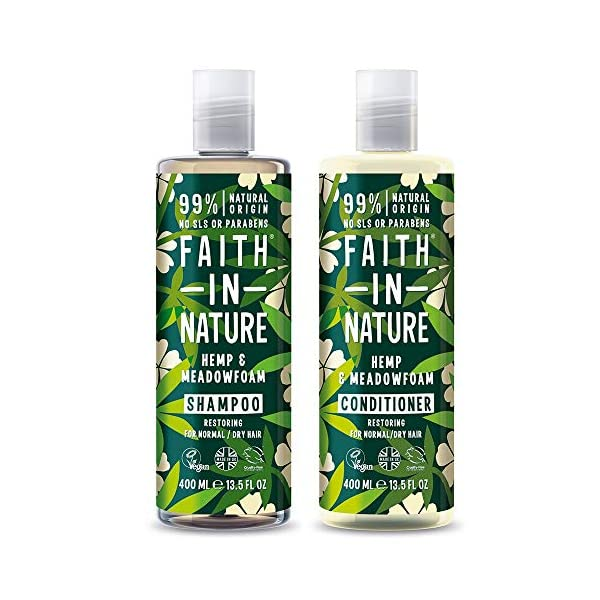 Faith in Nature Natural Hemp & Medowfoam Shampoo & Conditioner Set, Restoring Vegan & Cruelty Free, Parabens and SLS…