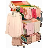 TNC Stainless Steel Laundry Rack and Cloth Dryer Stand with 6 Hangers, Bag, Jhumar and Clips (Orange)