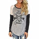 Paolian Les Femmes de Noël Alphabet Chaque Impression Manches Longues épissage T-shirt (Gris, S)