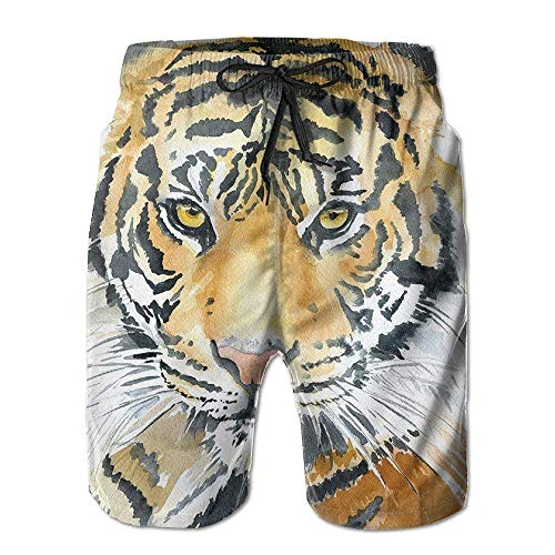 Men's Boardshorts Tiger Animal Quick Dry Board Shorts Beach Shorts Swimwear Swim Trunks Surfing Suit Small