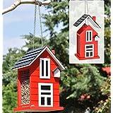 Mangeoire à oiseaux-Nichoir en bois décoratif rouge 57242