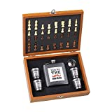 #10: Private Image Men Hip Flask And Chess Gift Set With 4 Shot Glass And 1 Funnel